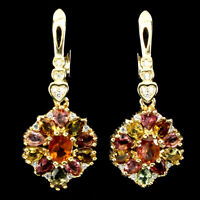 Unheated Oval Tourmaline Multi-Color 5x4mm Cz 925 Sterling Silver Earrings
