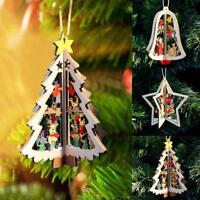 3D Christmas Decoration Xmas Tree Pendants Hanging Wooden Home Party Decor Gift