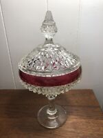"Vintage Indiana RUBY FLASH Pedestal Compote Candy Dish w/Lid 12"" DIAMOND POINT"