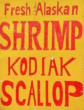 "TIN SIGN ""Fresh Alaskan Shrimp"" Seafood Vegatables Garage Wall Decor"