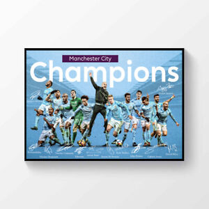 Manchester City FC Premier League Champions 2018-2019 Signed Printed Poster A4