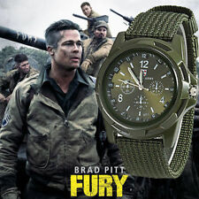 Military Army Mens Sport Canvas Belt Luminous Quartz Wrist Watch