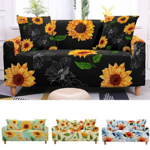 3D Digital Sunflowers Stretch SofaCover Living Room Elastic 2/3 Seaters Cover