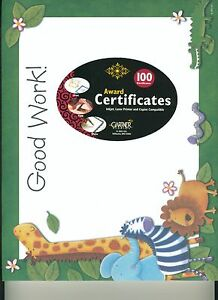 Good Work School Award Certificates 100 New Giraffe Zebra Animals Teacher