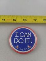 Vintage Camp Fire I CAN DO IT Girls pin button pinback *EE79