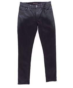 Nudie Organic Cotton Skinny Lin Shiny Black Jeans Denim BNWT