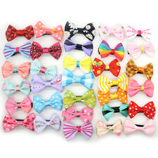 10 PCS Baby Girl's Mixed Colors Ribbon Hair Bow Mini Latch Clips Safe Hair Clip