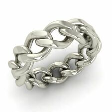 Men's Chain Link Band /Ring In Solid 925 Sterling Silver-6 mm Band Free Shipping