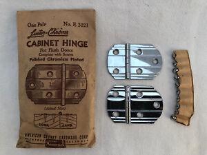 Vintage Amerock DECO Cabinet Hinge E 3021 Polished Chromium Flush Doors DQ