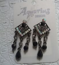 WOMEN'S HEMATITE / CRYSTAL DROP PIERCED 'AQUARIUS' EARRINGS BNWT