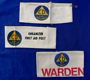 POST WW2 COLD WAR NEW ZEALAND CIVIL DEFENCE ARMBANDS; ORGANIZER WARDEN FIRST AID