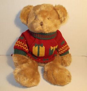 "RUSS PADSWORTH 19"" LARGE TEDDY BEAR CHRISTMAS SWEATER GUC"