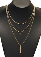 Choker Necklace Gold Coloured Multi 3 Layer Fashion Chain Drop Women Woman