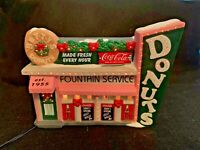 """Coca Cola Town Square Collection """"Betty's Donut Shop"""" Christmas Town - lights up"""