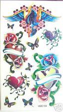 Heart Butterfly  Glitter Temporary Tattoos #HM0184