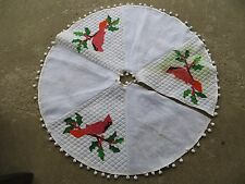"Vintage Hand Made 42"" Cardinal Red Bird Christmas Tree Skirt"