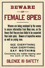 Beware Female Spies! Silence! Unusual 1915 Ww1 Espionage Poster - 16x24