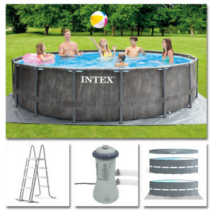 INTEX Komplettset Prism Frame Pool Greywood Ø 457x122cm Filterpumpe Swimmingpool