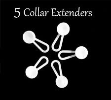 5 Shirt Collar Extenders White Plastic Expands Top Neck Tie Buttons