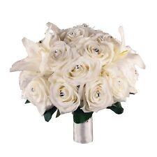 Elegant Rhinestone Ivory Rose Bridal bouquet/Brooch handle Supreme quality