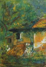 1997 IMPRESSIONIST FOREST LANDSCAPE HOUSE PASTEL PAINTING SIGNED