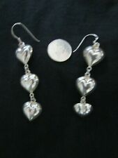 """Silver 925 ~ Vintage ~ Lg ~ Hanging Puffed Hollow """"3 Hearts"""" Earrings ~"""