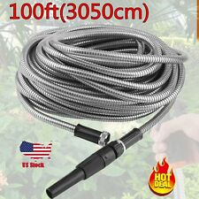 100 ft Flexible Stainless Steel Metal Garden Lightweight Water Hose Pipe New BP