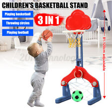 3 In 1 Kid Basketball/Soccer Goal Set Toddler Outdoor Hoop Stand Sport Toy Ball