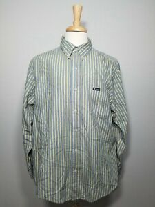 Men's Chaps Easy Care Long Sleeve Button Down Shirt Blue & Yellow Size XL