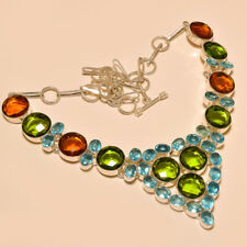 "Faceted Citrine Peridot London Topaz Quartz Silver Plated Necklace 17""18""(s-15)"
