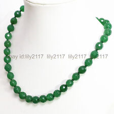 """Charming 8mm faceted green emerald round gemstone beads necklace 18"""" AAA"""