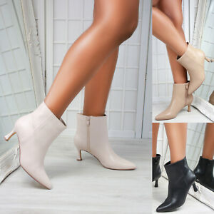 New Womens Kitten Heel Pointed Toe Ankle Boots Shoes Sizes 3-8