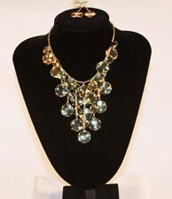 Necklace & Earrings Set Premium Fashion Jewelry Gold Tone Chain & Disks JXDV New