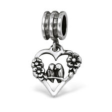 TJS 925 Sterling Silver Bead Love Birds Heart Flower Charm European Bracelet