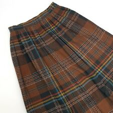 Vintage Diane Von Furstenberg Skirt SZ 10 Brown Plaid Secretary Wool Pleated