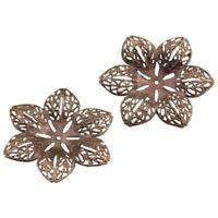 30 Bronze Tone Filigree Flower Wraps Connectors 43mm N4Z2