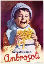 PUBBLICITA' 1951 CARAMELLE RIPIENE AMBROSOLI RONAGO COMO MIELE BIMBO SORRISO
