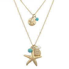 Lux Accessories Nautical Goldtone and Turq Starfish Pearl Cross Layered Necklace