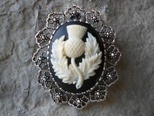 2 IN 1- SCOTTISH THISTLE - SCOTLAND'S EMBLEM CAMEO BROOCH / PIN / PENDANT - KILT