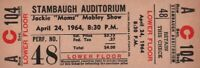 MOMS MABLEY 1964 MOMS THE WORD TOUR UNUSED CONCERT TICKET / OTIS REDDING / NMT