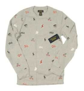 Polo Ralph Lauren Heather Tossed Icon Print Waffle Knit Thermal Crew-Neck Shirt