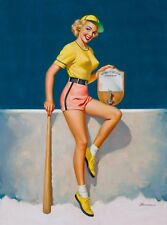 1955 Pin-Up Girl Rookie of the Year Picture Poster Print Vintage Art Pin Up