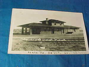 1912 SANTA FE Railroad DEPOT Real Photo POSTCARD Searchlight NEVADA
