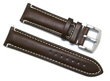 24mm Replacement Brown Leather Silver Buckle Watch Band - Invicta Lupah 24 Men's