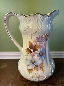 Vtg RS Prussia Pitcher Blues Purples Gold Excellent Large Embossed Reproduction