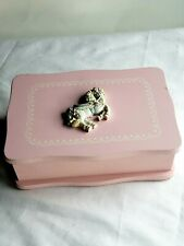 Vintage Wooden Carousel Applied Horse Cover Pink Jewelry Box