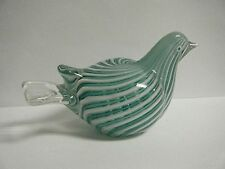 VINTAGE1960s MURANO WHITE & GREEN LATTICINO ART GLASS BIRD DOVE WITH ORIG. LABEL