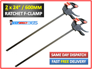 """2 x 600mm 24"""" Wood Working Bar F Clamp Clamps Grip Ratchet Quick Release Squeeze"""