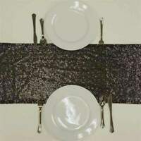 "All -Over Sequin On Mesh Table Runners 12""x108"" Wedding Party  15+ Colors!"