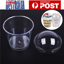 40X Mousse Cake Dessert Cup Plastic Drink Jelly Tumbler Round Cup W/ Cover